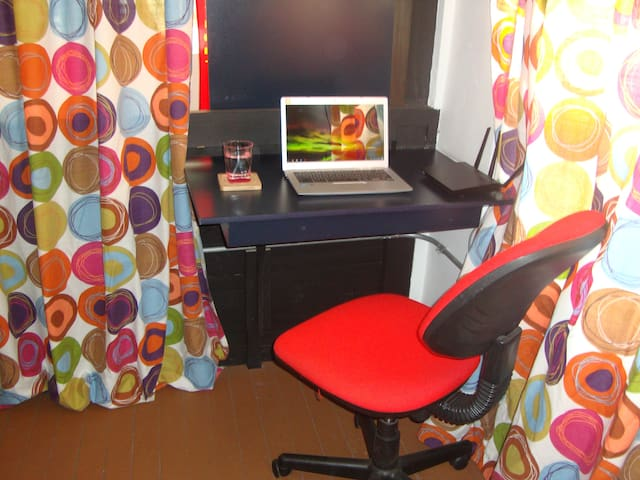 Small desk on the bedroom.
