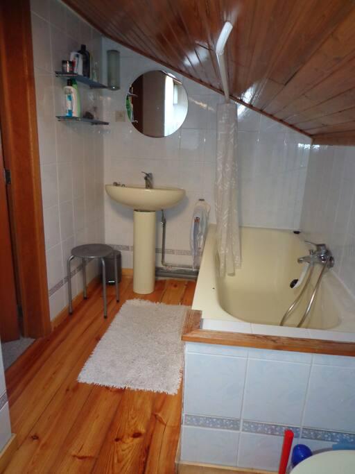 bath room with bath tub, shower and toilet