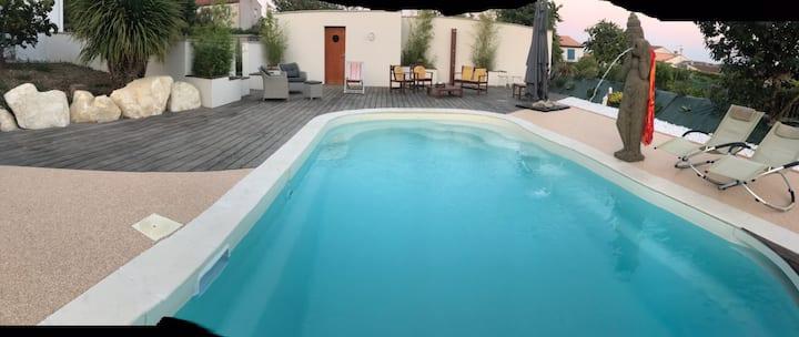 Belle chambre avec spa piscine privative chauffée