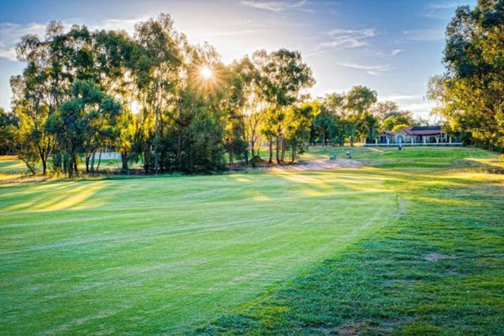 Right on the Thurgoona Golf club. Even if you don't love golf, it is the most picturesque walk!
