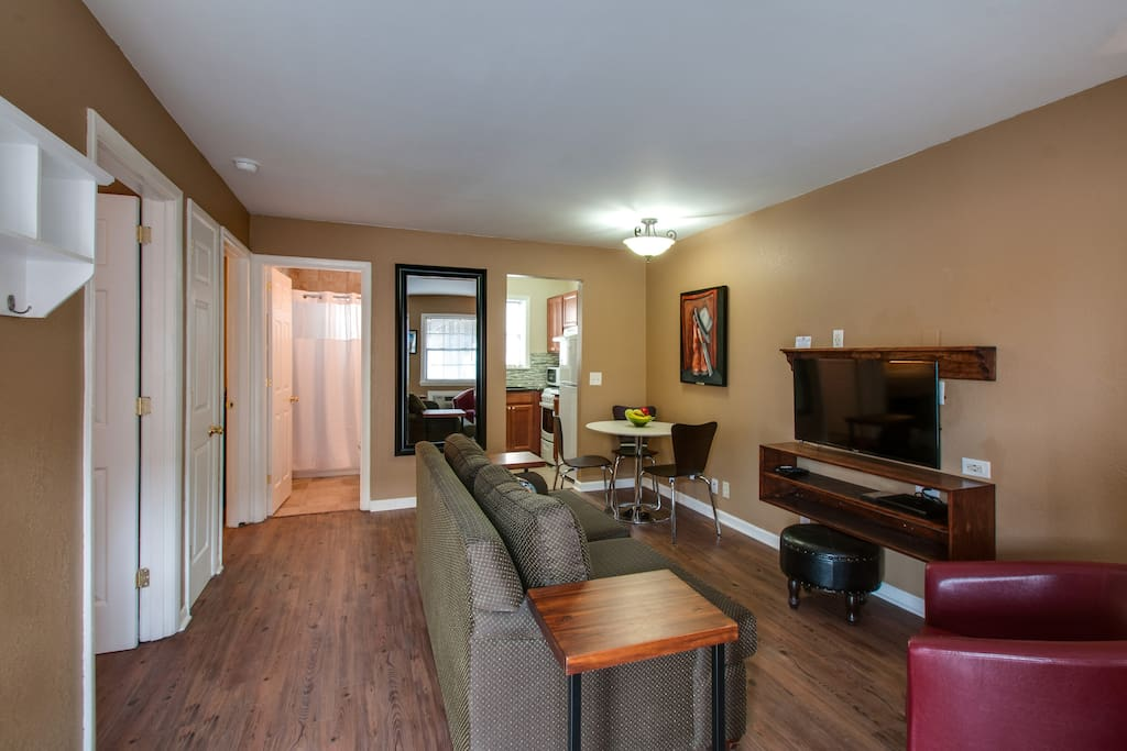 There's room to gather and dine in an open living area.