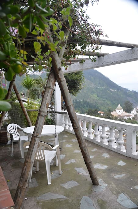 Private terrace with beautiful view of Guapulo and mountains down below