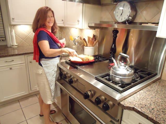 Sue is preparing a vegetarian dish in her favorite space