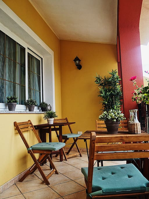This is our veranda, the ideal place to have breakfast in the morning.