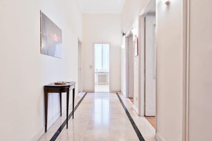 La prima a destra e' la camera da letto, la seconda il soggiorno, il bagno di fronte e a sinistra la cucina...