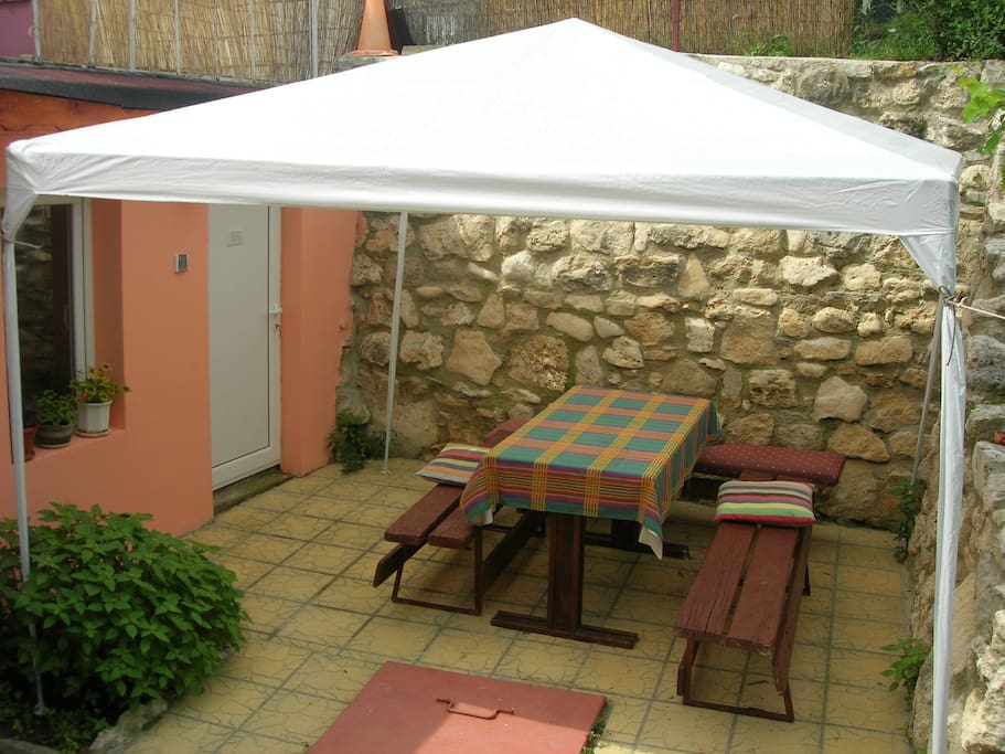 Garden Barbecue and a tent for romantic dinners