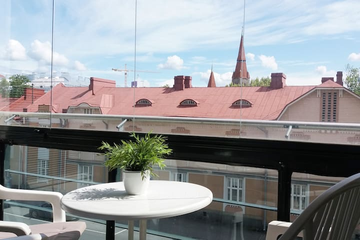 Large glazed balcony with nice view