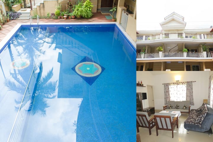 09) Spacious Apart Sleeps 4 Families/Couples WiFi - Saligao - Flat