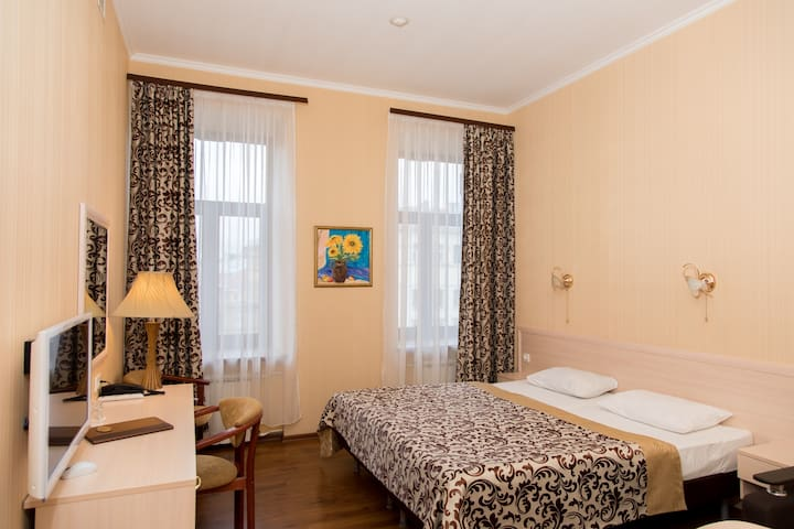 Spacious rooms with overlooking the Griboyedov Canal