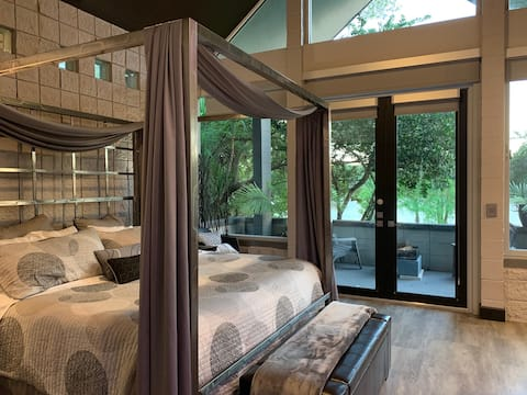 The master suite is over 700 sq ft of zen. Your own private fireplace outside on you own private patio overlooking Lake Marion, a private lake stocked with bass. Huge soaking tub. Walk in shower for two. Surrounded by beautiful butterfly gardens.