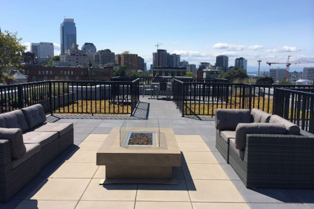 Common roof deck has great views of the city and 360 mountain views
