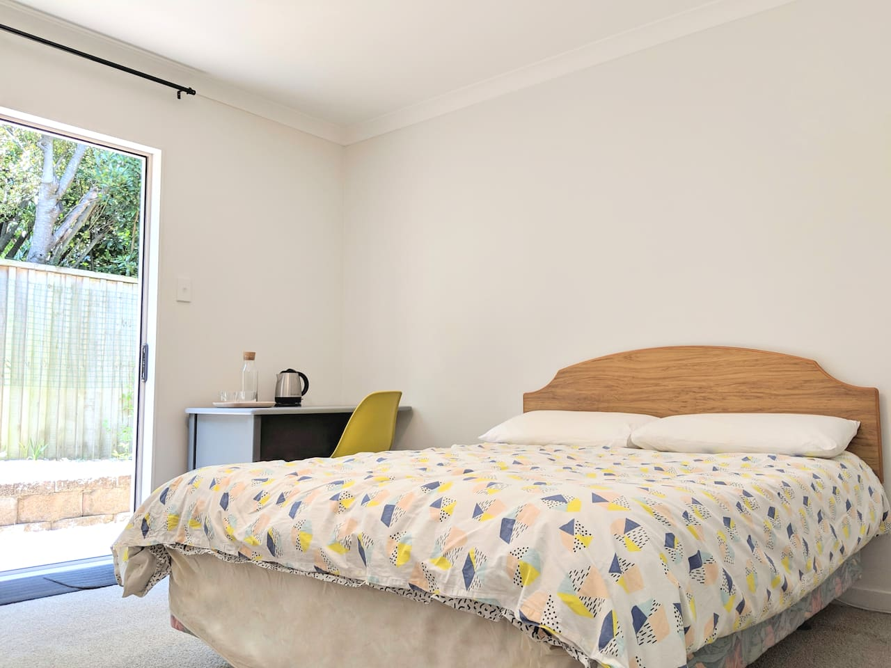 Double bed that can easily sleep two. We use quality linen. Hair dryer and towels are provided.