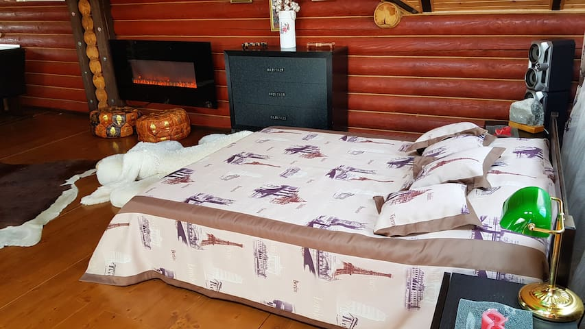 Big bed  №1  165 cm x 210 cm int the Luxury apartments  №1, 120 sq.m. with pool and sauna.