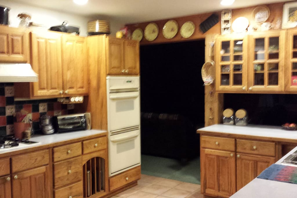 Kitchen has a coffee maker, toaster oven and room available in the frig.