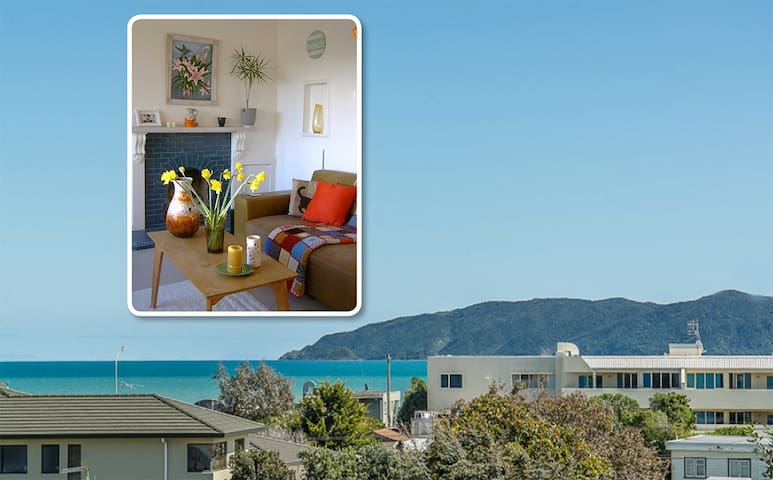 Sunny seaviews character cottage, beach 2mins walk - Paraparaumu - Dom