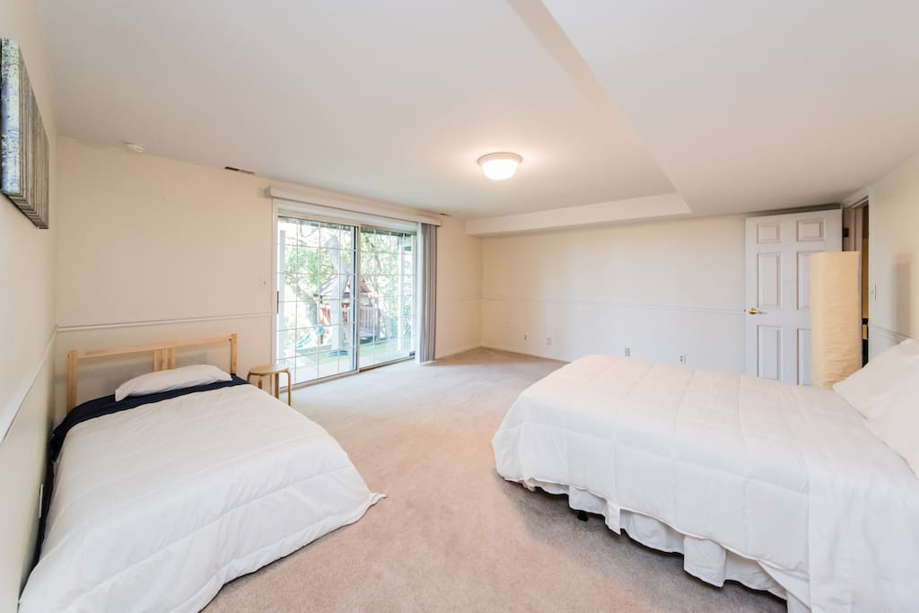 Bedroom with great views, one full and one twin bed.  extra twin mattress in closet, bedding provided.