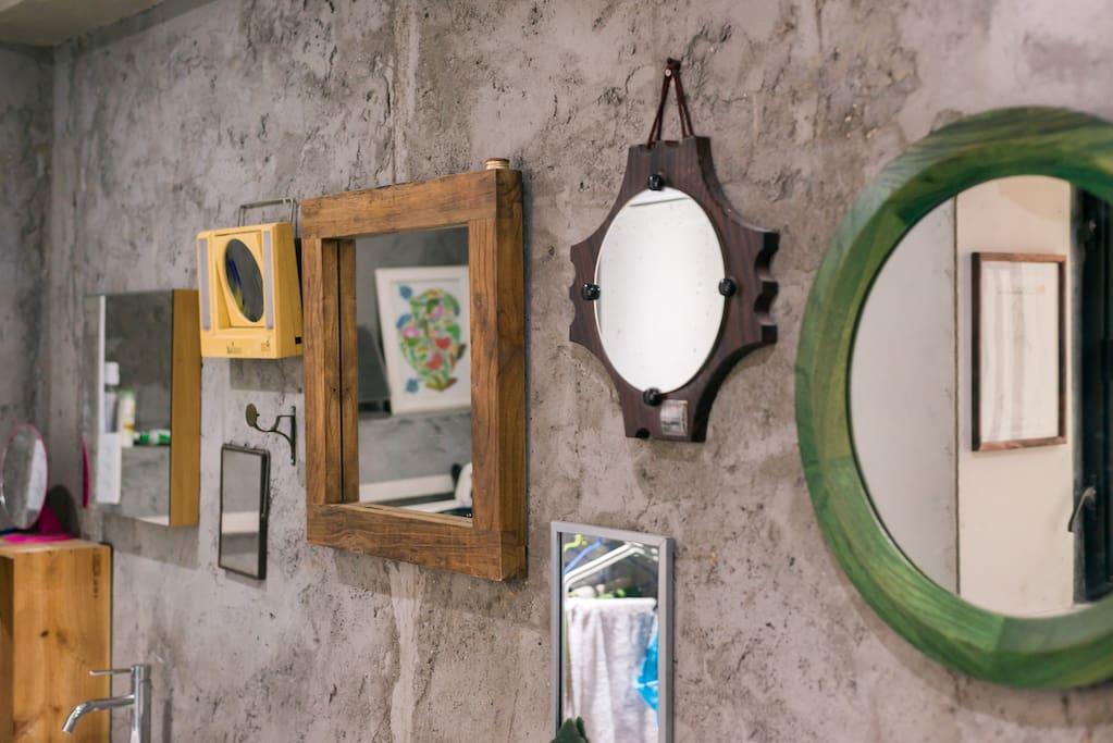 Mirrors in the public bathroom