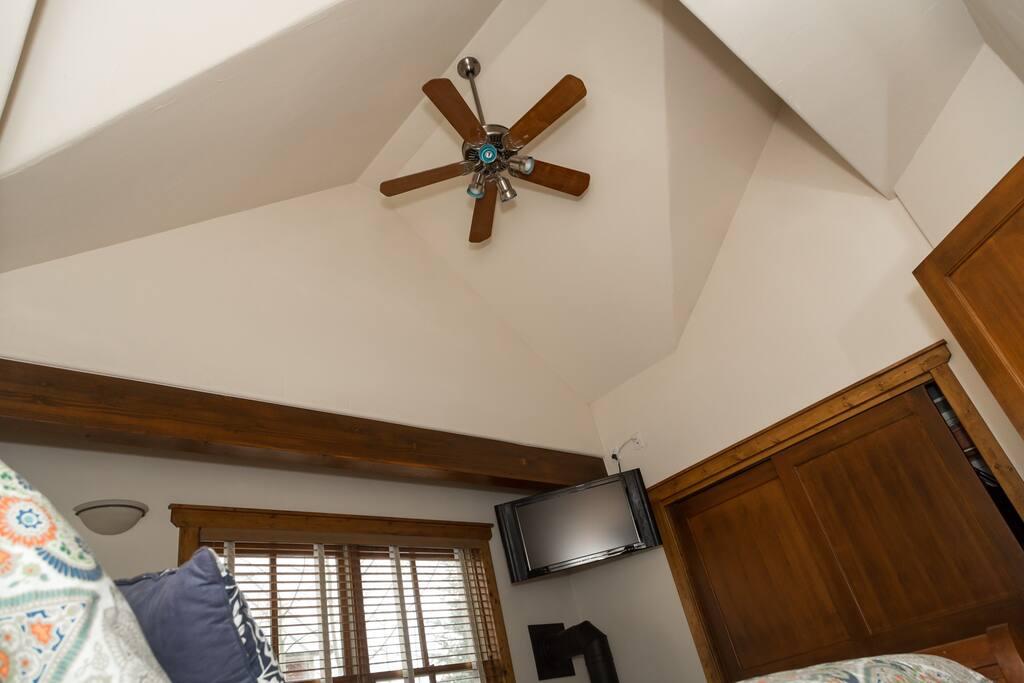 High Ceilings in the top floor Master Bedroom