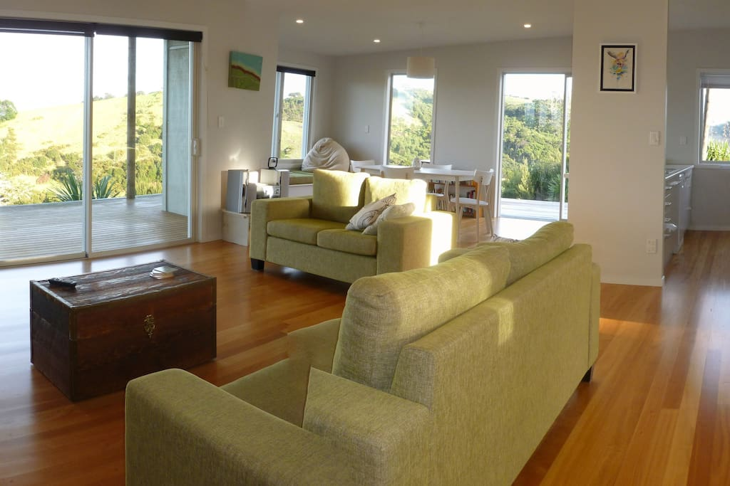 The sunny, open-plan living area.