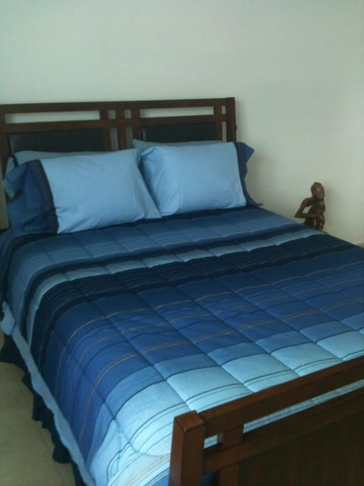 Master bedrom with confortable bed.