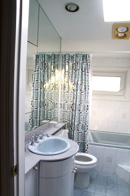 The shared bathroom is bright and roomy. The new water-saver toilet is eco-friendly too!