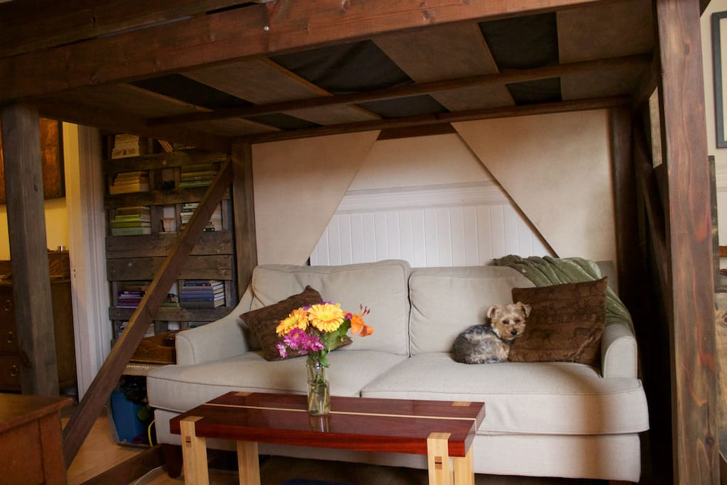Couch and seating area underneath the loft. (Adorable puppy, not included)
