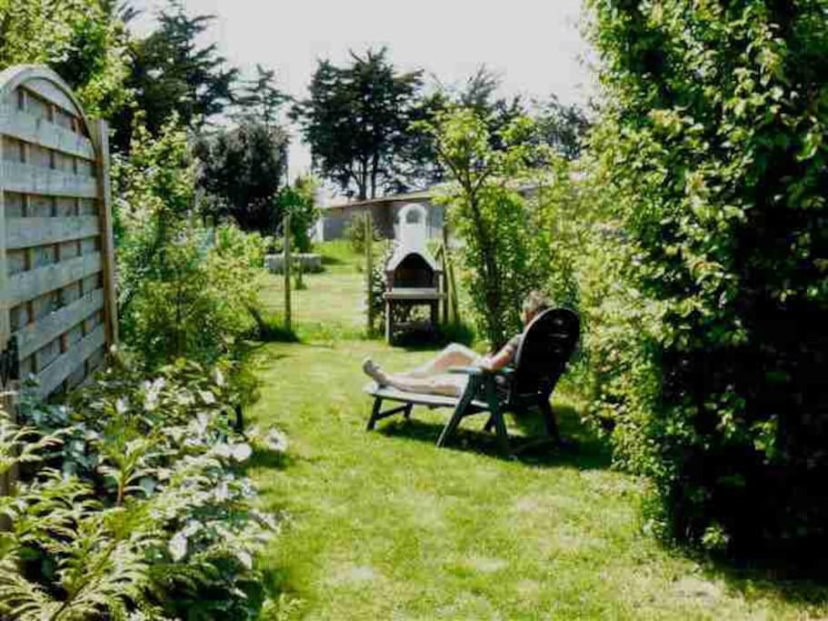 Terrasse et petit jardin clos, plein sud, face à la réserve naturelle