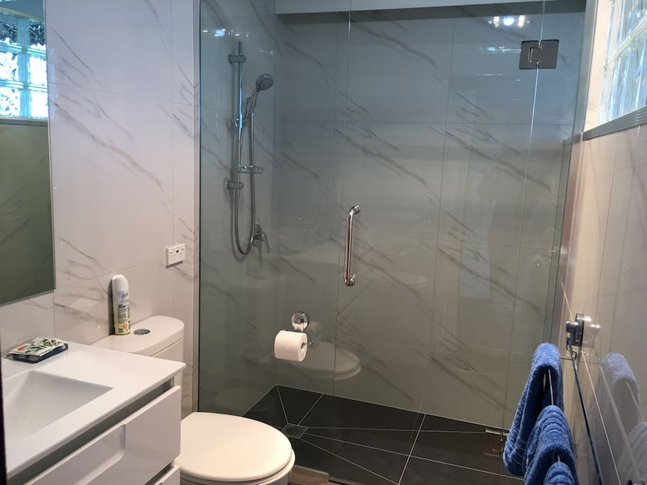 modern and spacious tiled shower