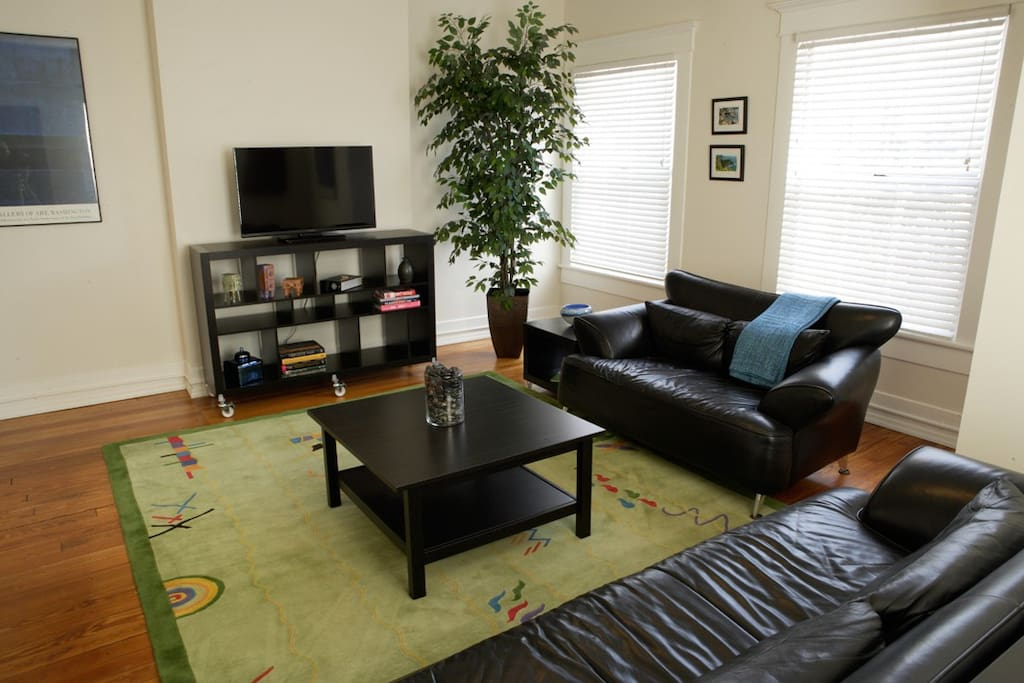 Comfortable leather couches. TV, wireless internet.