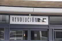 Revolucion Apartment complex in the Cuba Quarter - look for this signage above the entranceway