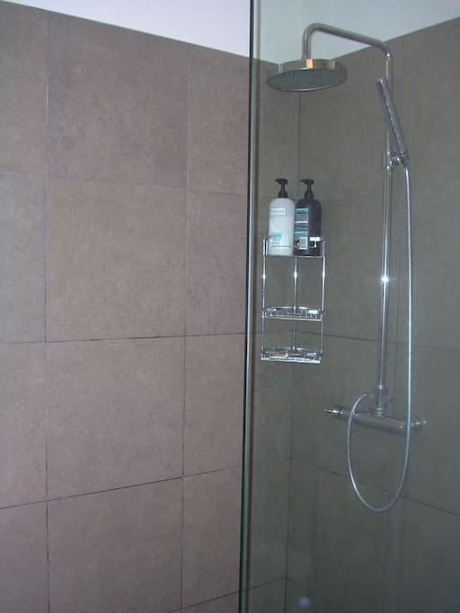 Lovely powerful shower, hybrid solar/electric water heating.