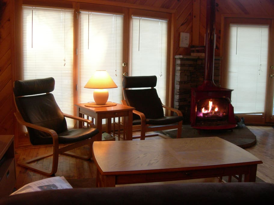 Relax and read or watch TV by the fireplace.