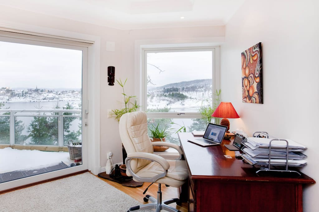 Office / desk area overlooking marina