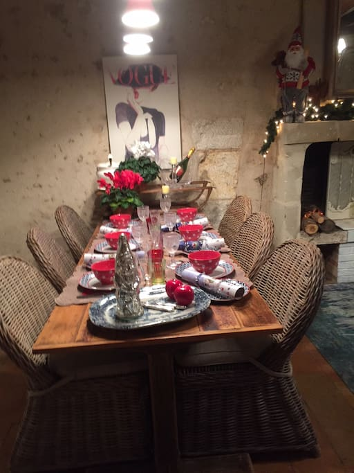 Dining table dressed for Christmas