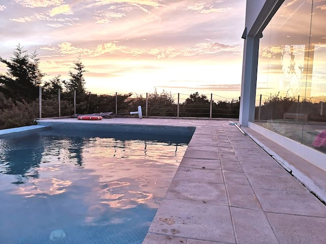 Sun set at the pool last August, 22, 2019