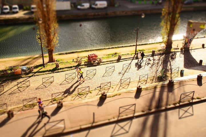 Canal St Martin / quais de Valmy, depuis la fenêtre, paradis des joggers et des flâneurs
