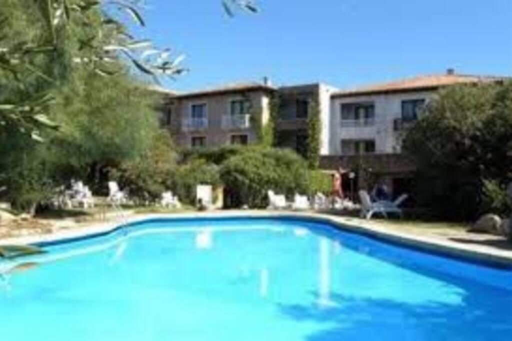 la splendida piscina assolata con anche tanta ombra intorno