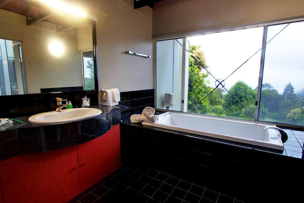 Master bathroom with bath/spa.