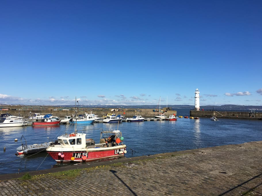 West-facing view from the harbour across to Fife.