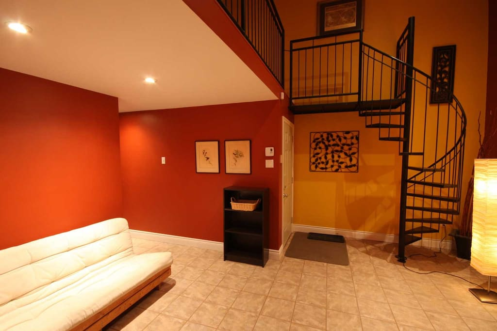 Main entrance & stairs to the bedroom