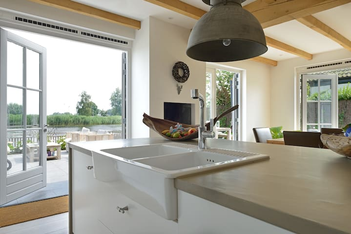 Modern kitchen, view to outside