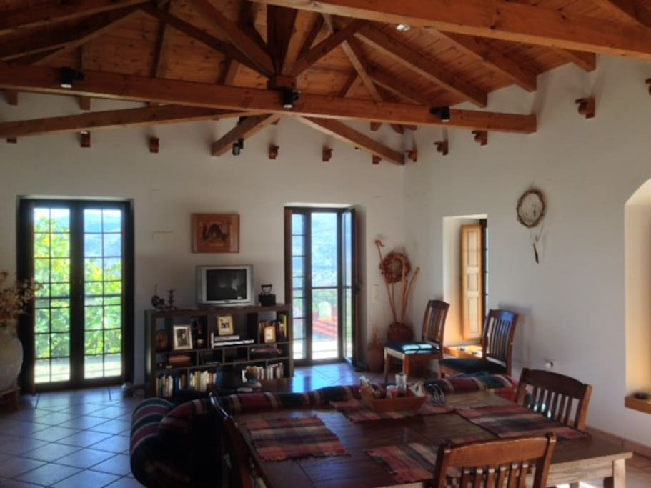 Open-plan living and dining room with TV/DVD Satellite.  Ideal setting for a retreat, reunion, or a celebration getaway.