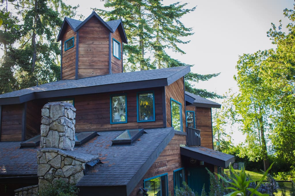 A whimsical tower offers views of the Olympics and the Salish Sea.