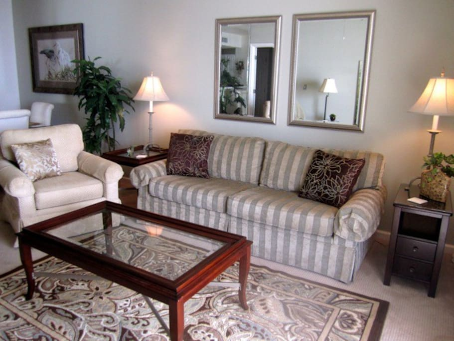 Another view of the living room.  There is a great view of the Gulf from all seating locations.