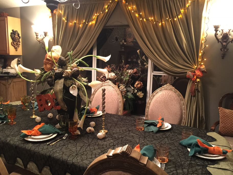 Decorated for Halloween parties