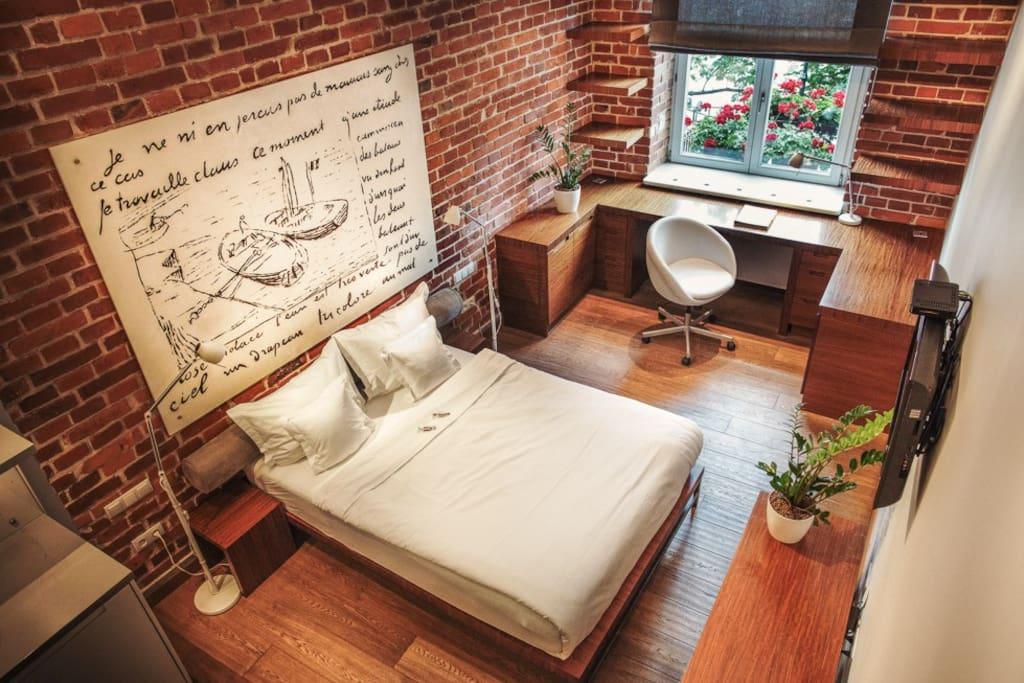 studio - łóżko