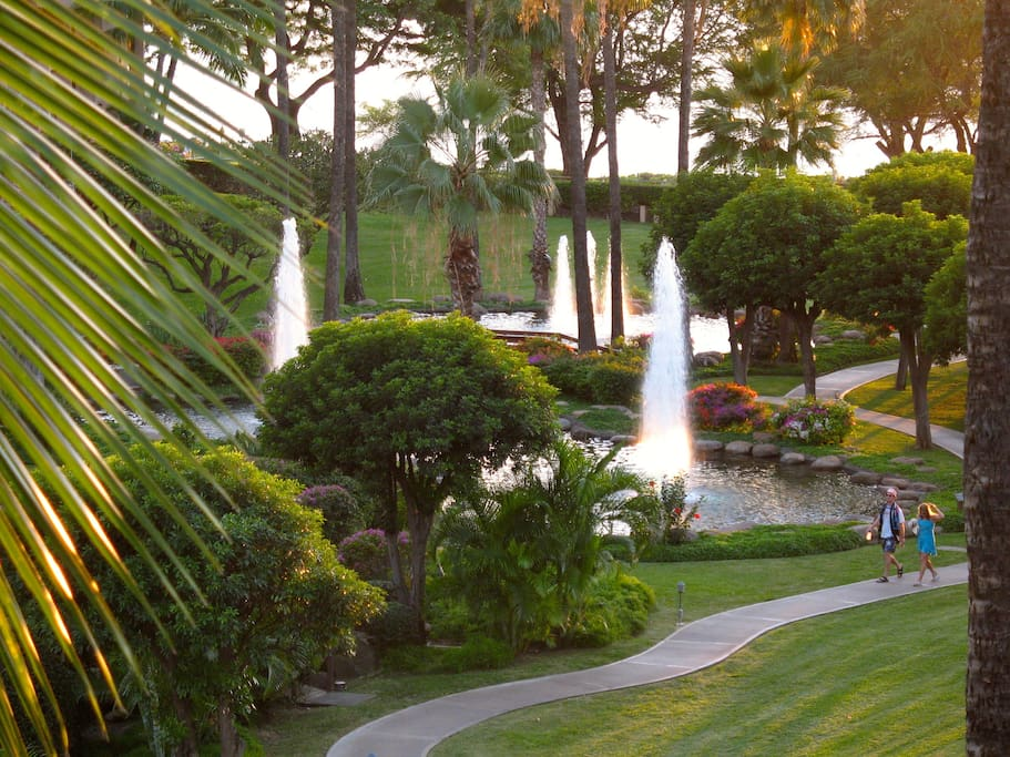 View from Lanai of Spectacular Gardens and Ocean