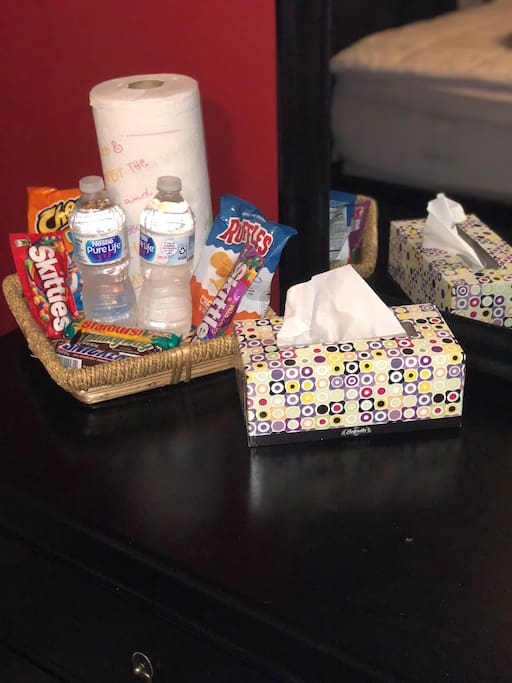 Complimentary snacks and water