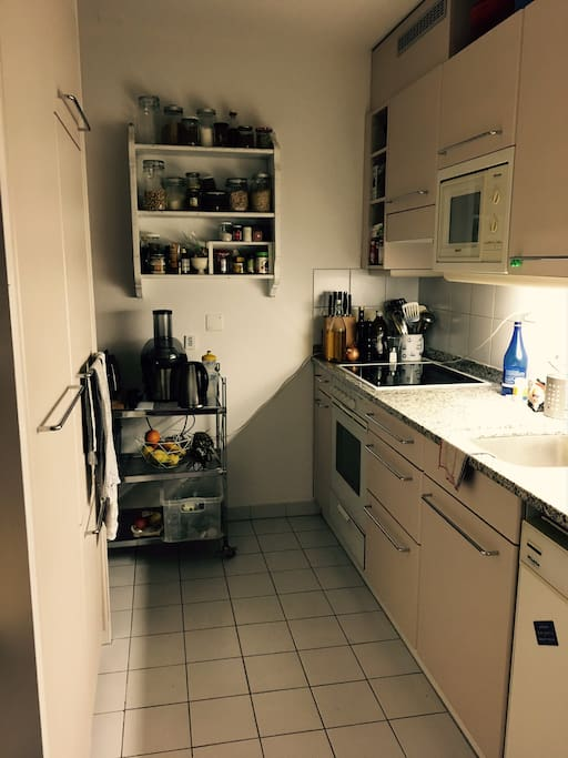 Very well equipped kitchen with microwave and dishwasher, space to put your groceries