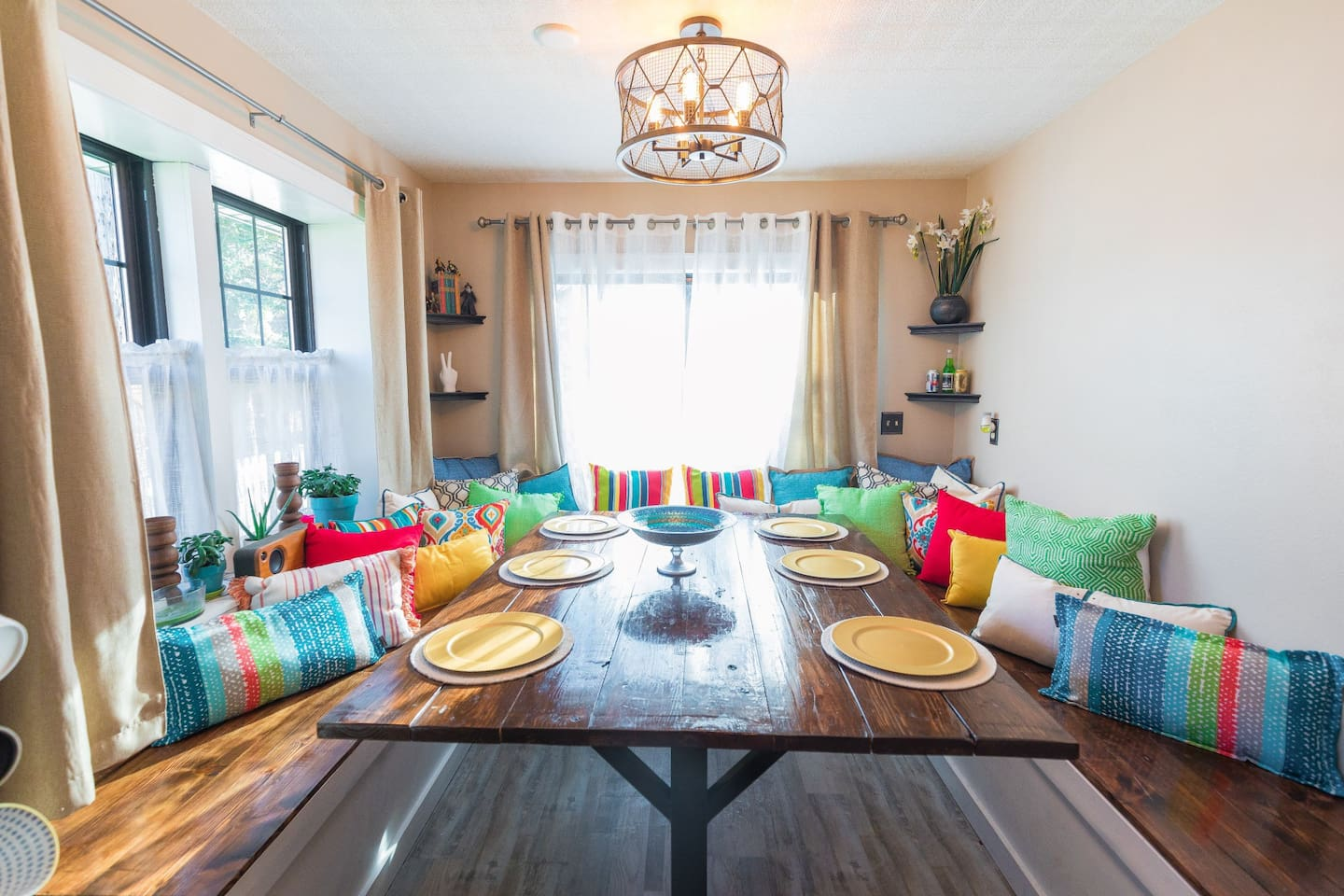 Enjoy a meal at this large family table